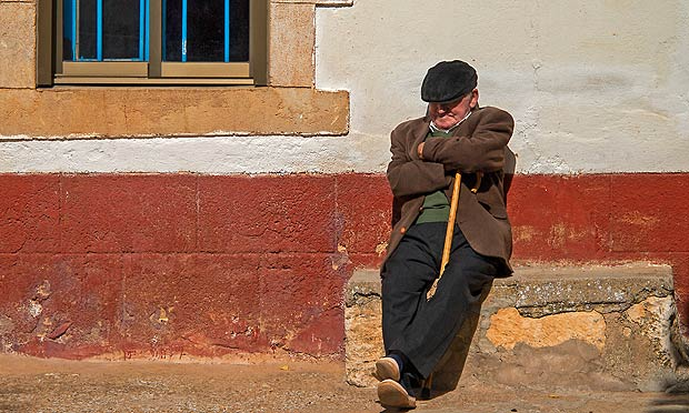 A Spaniard naps in Valdeavellano, near Soria.